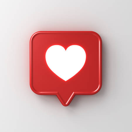 3d social media notification neon light like heart icon in red speech bubble pin isolated on white wall background with shadow 3D rendering