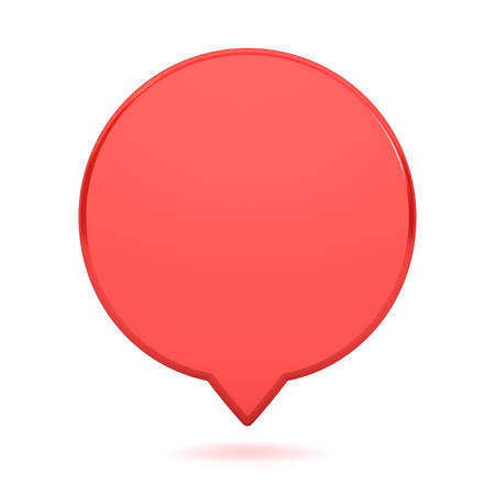 Blank red round speech bubble pin isolated on white background with shadow 3D rendering