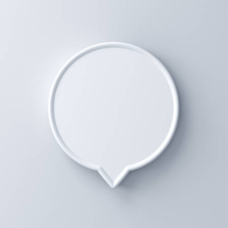 Blank white round speech bubble pin isolated on white wall background with shadow 3D rendering Stockfoto