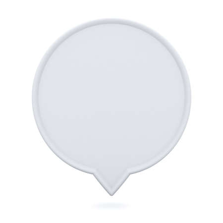 Blank white round speech bubble pin floating isolated on white background with shadow 3D rendering Stockfoto
