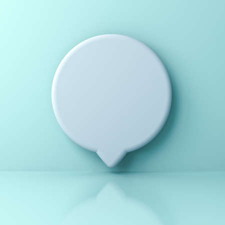 Blank white round social media notification or speech bubble sign pin isolated on light green blue pastel color wall background with shadow 3D rendering