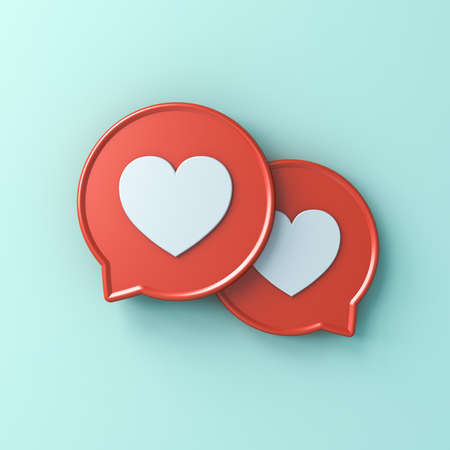 3d social media notification love like heart icons on red round speech bubbles isolated on light green cyan pastel color wall background with shadow 3D rendering Stockfoto - 126175701