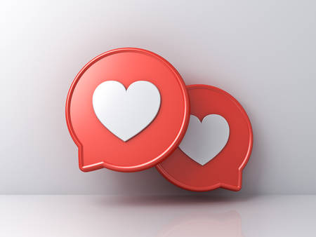 3d social media notification love like heart icons on red round speech bubbles isolated on white color wall background with shadows and reflections 3D rendering