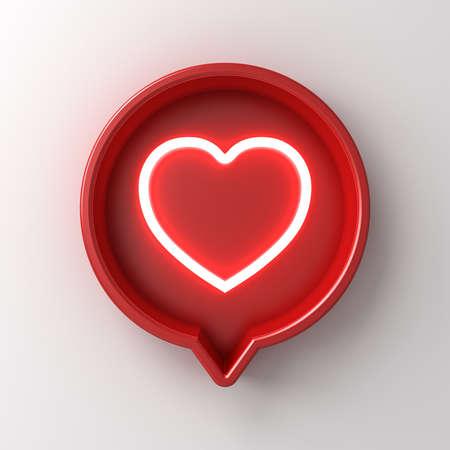 3D-Social-Media-Benachrichtigung Neonlicht wie Herzsymbol in roter runder Pin-Schilderbox isoliert auf weißem Wandhintergrund mit Schatten-3D-Rendering Standard-Bild