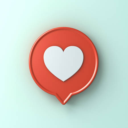 3d social media notification love like heart icon in red round pin isolated on light green blue pastel color wall background with shadow 3D rendering