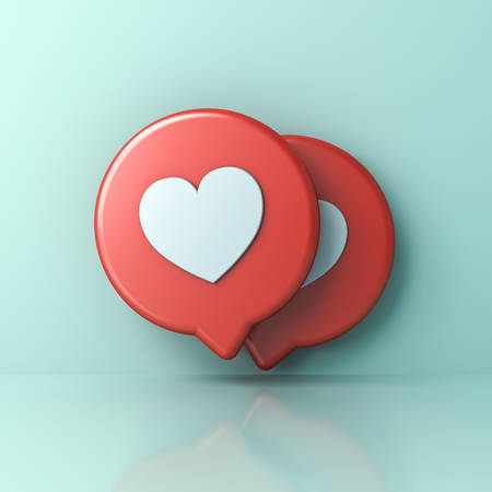 3d social media notification love like heart icons on red round sign pins isolated on light green blue pastel color wall background with shadows and reflections 3D rendering