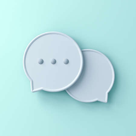 Abstract 3d speech bubbles isolated on light green blue pastel color wall background with shadow 3D rendering Stockfoto - 126175707