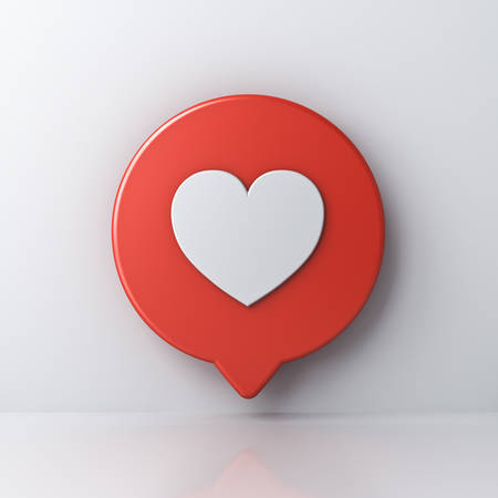 3d social media notification love like heart icon in red round speech bubble pin isolated on white wall background with shadow and reflection 3D rendering Stockfoto