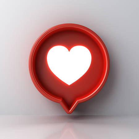 3d social media notification light like heart icon in red round speech bubble box pin isolated on white wall background with shadow and reflection 3D rendering