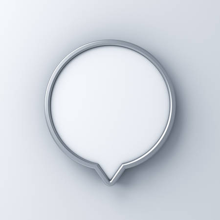 Blank circle signboard pin or mock up , signage board or advertising round billboard boxes isolated on white wall background 3D rendering Stockfoto - 127764009