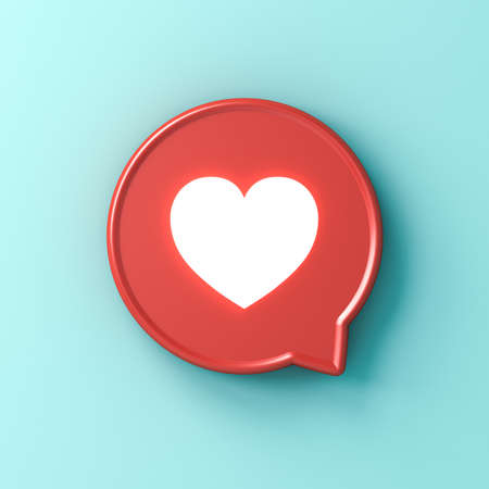 3d social media notification neon light love like heart icon in red rounded square pin isolated on light blue green pastel color  wall background with shadow 3D rendering Stockfoto - 127764015