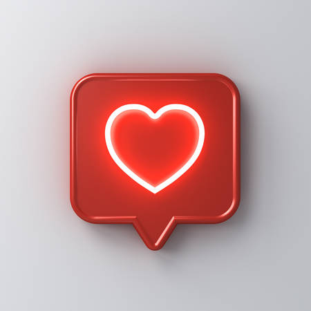 3d social media notification neon light love like heart icon in red rounded square pin isolated on white wall background with shadow 3D rendering Stockfoto - 127764024