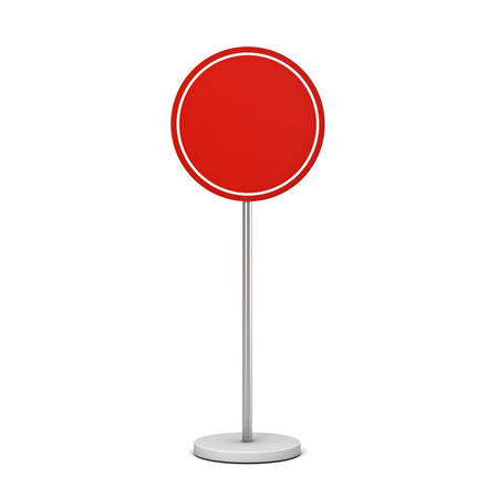 Blank red round sign with pole stand Blank mock up information signage board or advertising round billboard isolated on white background with shadow 3D rendering Stockfoto