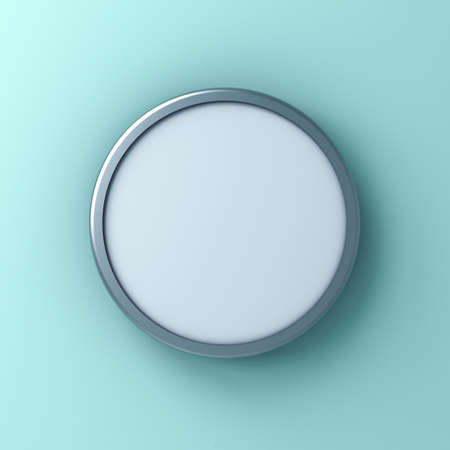 Blank round sign or Mock up signage board or advertising round button isolated on light blue green pastel color wall background with shadow 3D rendering