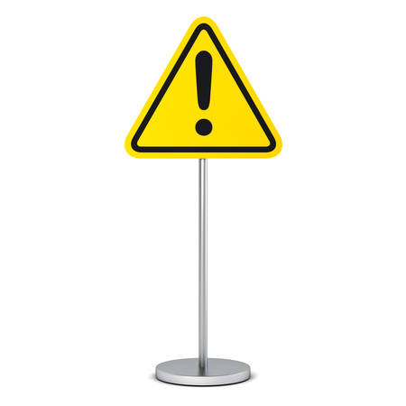 Hazard warning attention sign with exclamation mark symbol isolated on white background 3D rendering