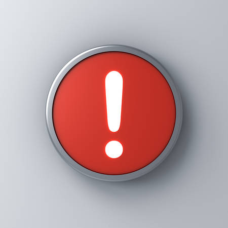 Neon light exclamation mark icon in red round sign button isolated on white wall background with shadow 3D rendering