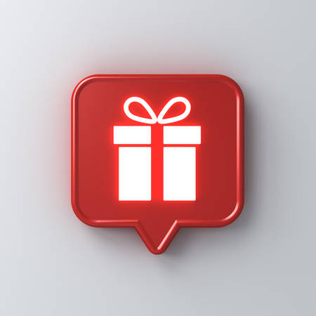 Neon light gift icon in red social media notification speech bubble pin isolated on white wall background with shadow 3D rendering