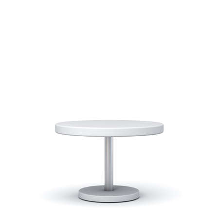 Blank white round table isolated on white background with shadow 3D rendering