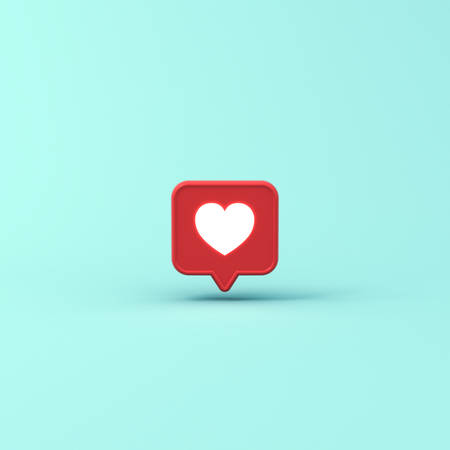 3d social media notification neon light like heart icon in red speech bubble pin isolated on blue pastel color background with shadow 3D rendering Stockfoto - 127764038