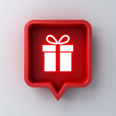 Neon light gift icon in red social media notification speech bubble box pin isolated on dark white wall background with shadow 3D rendering Stockfoto
