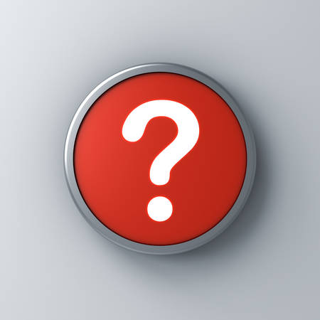 Neon light question mark icon in red round sign button isolated on dark white wall background with shadow 3D rendering Stockfoto - 127764149