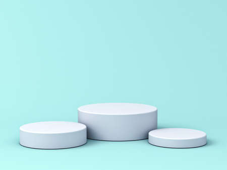 Blank white podium isolated on blue green pastel color background with shadows 3D rendering Stockfoto - 127764152