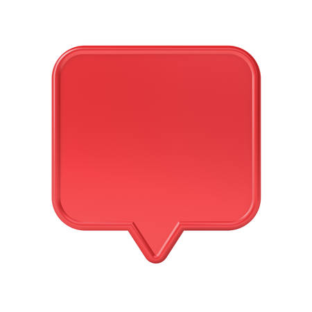 Blank red social media notification speech bubble pin isolated on white background 3D rendering Stockfoto - 129594147
