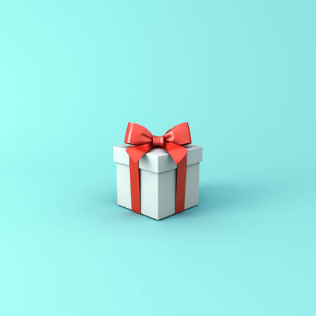 Gift box or Present box with red ribbon and bow isolated on light blue green pastel color background with shadow 3D rendering Stockfoto - 129594148