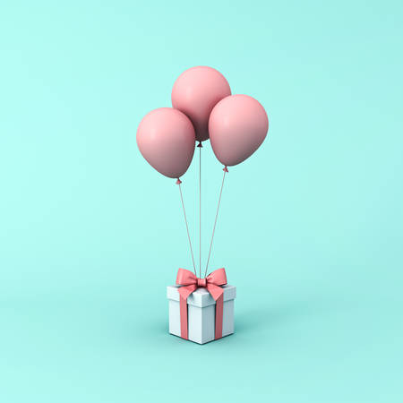 Gift box or present box with pink pastel color balloons isolated on light green blue pastel color background with shadow 3D rendering