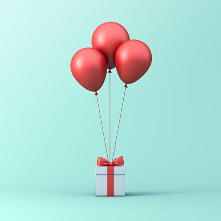 Red glossy balloons tied to gift box or present box with red ribbon and bow isolated on light green blue pastel color background with shadow 3D rendering Stockfoto - 129594151