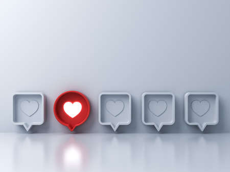 Stand out from the crowd and different creative idea concepts One red 3d social media notification Love like heart icon in red round pin pop up from white wall background with reflections 3D rendering Stockfoto - 129594155