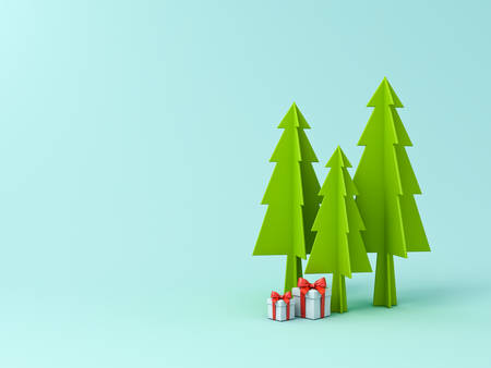 Christmas tree or pines and gift boxes with red ribbon bow isolated on light blue green pastel color background for christmas decoration with blank space 3D rendering Stockfoto - 129594160