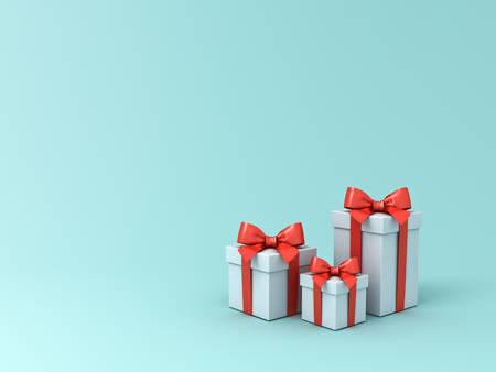 Pile of gift boxes or present box with red ribbon and bow isolated on light blue green pastel color background with blank space 3D rendering Stockfoto - 129594161