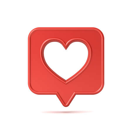 3d social media notification love like icon with hole heart shape on red speech bubble pin isolated on white background with shadow 3D rendering Stockfoto - 129594162