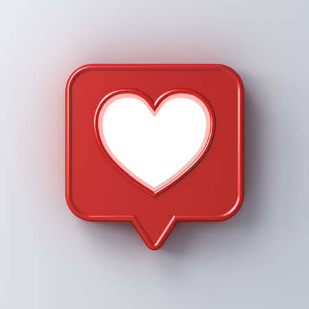 3d social media notification love like icon with neon light shining through hole heart shape in red speech bubble pin isolated on white wall background with shadow 3D rendering Stockfoto