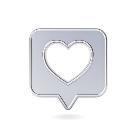 3d social media notification love like icon with hole heart shape on shiny metal speech bubble pin isolated on white background with shadow 3D rendering Stockfoto - 129594174