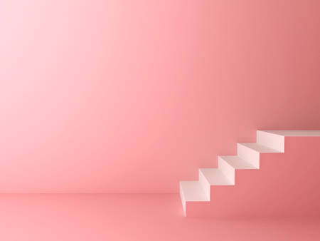 Pink pastel color room background with white stairs 3D rendering Stockfoto - 129594173