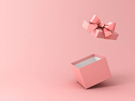 Blank open gift box or present box with pink ribbon bow isolated on pink pastel color background with shadow 3D rendering Stockfoto - 129594175