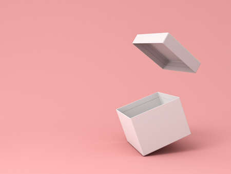 Blank white open cardboard box isolated on pink pastel color background with shadow 3D rendering Stockfoto - 129594177