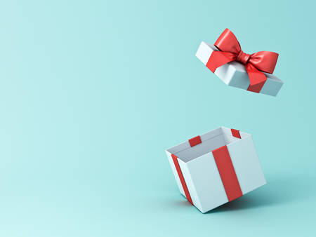 Open gift box or present box with red ribbon and bow isolated on green blue pastel color background with shadow 3D rendering Stockfoto