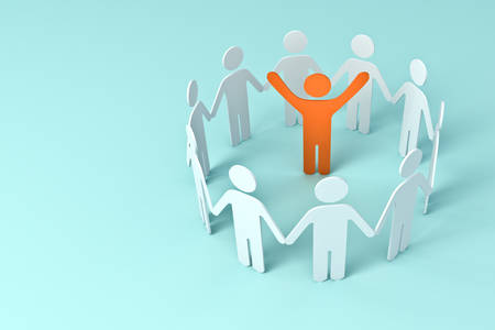 Group of people holding hands with one leader orange man in center of the circle business concepts on blue pastel color background 3D rendering