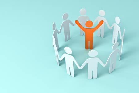 Groupe de personnes se tenant la main avec un homme orange leader au centre des concepts d'affaires du cercle sur fond de couleur pastel bleu rendu 3D