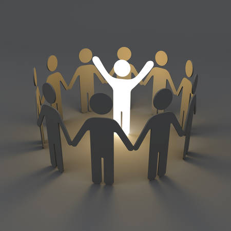 Stand out from the crowd creative idea concepts One glowing light man standing with arms wide open among group of people holding hands in a circle on dark grey background with shadows 3D rendering Stock Photo