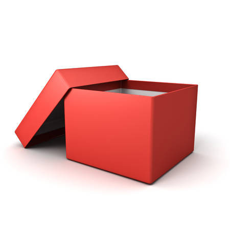 Blank open red cardboard box isolated on white background with shadow 3D rendering Stockfoto - 129594196