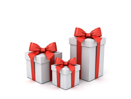 Gift boxes or present box with red ribbon and bow isolated on white background with shadows 3D rendering