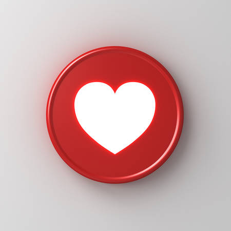 Neon light love like heart icon in red round badge button 3d social media notification sign isolated on white wall background with shadow 3D rendering