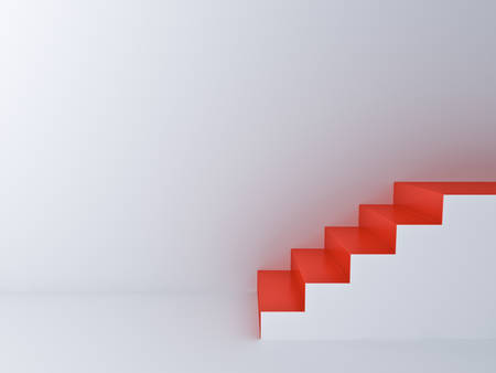Red stairs in white room background with blank space on the wall 3D rendering Stockfoto
