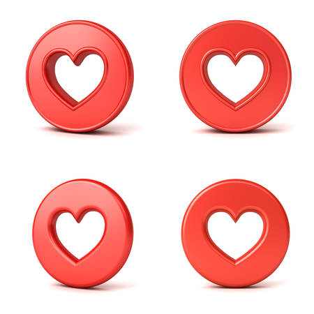 3d social media notification love like heart icons Hole heart shape in red round button isolated on white background with shadow 3D rendering Stockfoto - 130120518