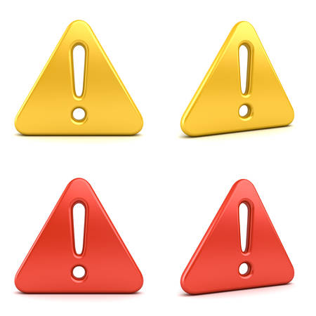3d Hazard warning attention signs exclamation mark symbols red and yellow icons isolated on white background 3D rendering