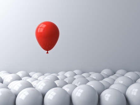 One red balloon pop out from the white balloons Stand out from the crowd different concept or think outside the box creative idea concept 3D rendering Stockfoto - 129594223